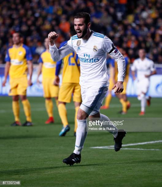 Nacho Fernandez of Real Madrid CF celebrates after scoring during the UEFA Champions League group H match between APOEL Nikosia and Real Madrid at...