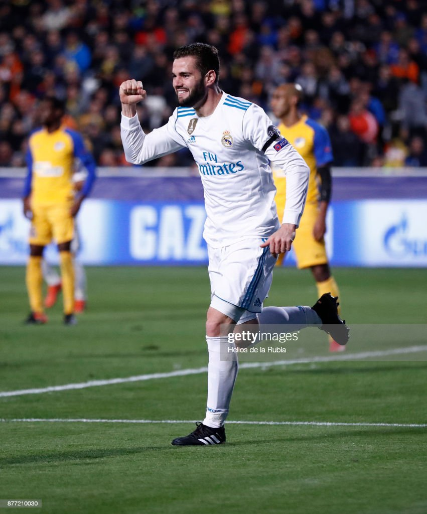 Nacho Fernandez of Real Madrid CF celebrates after scoring during the UEFA Champions League group H match between APOEL Nikosia and Real Madrid at GSP Stadium on November 21, 2017 in Nicosia, Cyprus.