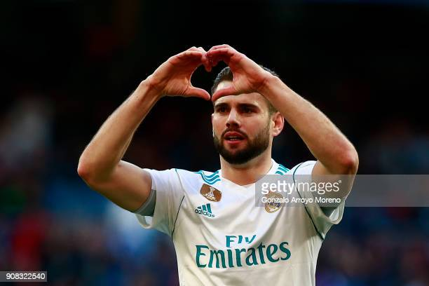 Nacho Fernandez of Real Madrid CF celebrates scoring their opening goal during the La Liga match between Real Madrid CF and Deportivo La Coruna at...