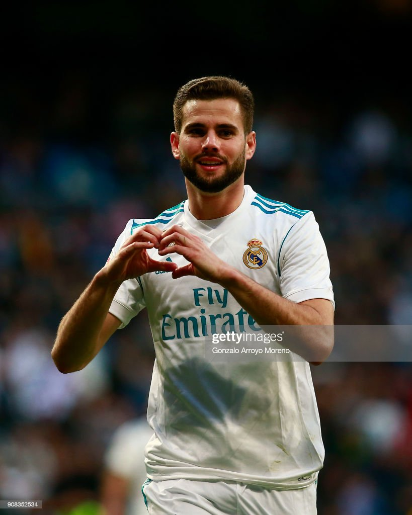 Nacho Fernandez of Real Madrid CF celebrates scoring their seventh goal during the La Liga match between Real Madrid CF and Deportivo La Coruna at Estadio Santiago Bernabeu on January 21, 2018 in Madrid, Spain.