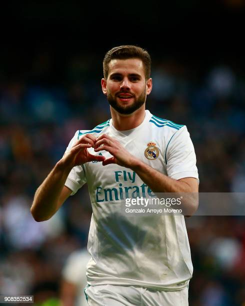 Nacho Fernandez of Real Madrid CF celebrates scoring their seventh goal during the La Liga match between Real Madrid CF and Deportivo La Coruna at...