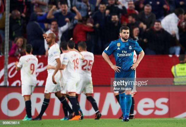 Nacho Fernandez of Real Madrid CF reacts during the La Liga match between Sevilla FC and Real Madrid at Ramon Sanchez Pizjuan stadium on May 9 2018...