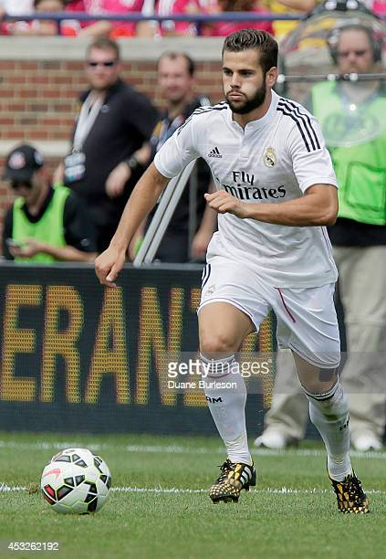 Nacho Fernandez of Real Madrid dribble the ball against Manchester United during the first half of the Guinness International Champions Cup at...