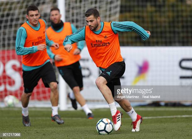 Nacho Fernandez of Real Madrid in action during a training session at Valdebebas training ground on February 20 2018 in Madrid Spain