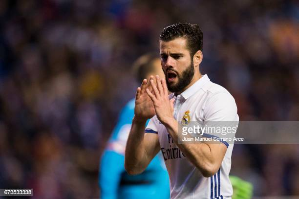 Nacho Fernandez of Real Madrid reacts during the La Liga match between RC Deportivo La Coruna and Real Madrid at Riazor Stadium on April 26 2017 in...