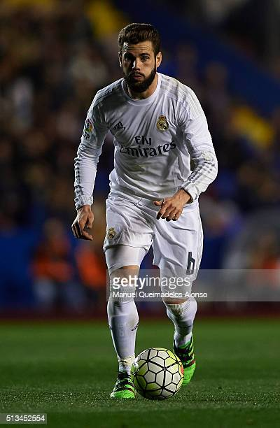Nacho Fernandez of Real Madrid runs with the ball during the La Liga match between Levante UD and Real Madrid at Ciutat de Valencia on March 02 2016...