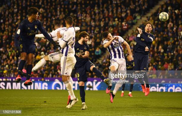 Nacho Fernandez of Real Madrid scores his team's first goal during the Liga match between Real Valladolid CF and Real Madrid CF at Jose Zorrilla on...