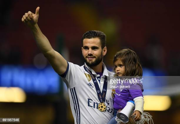 Nacho Fernandez of Real Madrid shows appreciation to the fans after the UEFA Champions League Final between Juventus and Real Madrid at National...