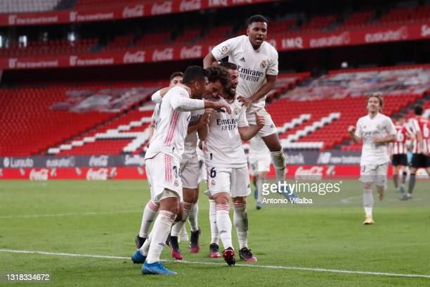 Nacho Fernández of Real Madrid celebrating goal with teammates during the La Liga Santander match between Athletic Club and Real Madrid at Estadio de...