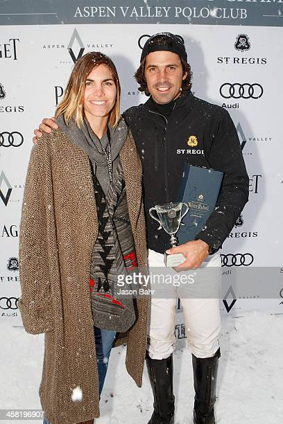 Nacho Figueras and Delfina Blaquier celebrate after winning The 2013 World Snow Polo Championship on December 20 2013 in Aspen Colorado