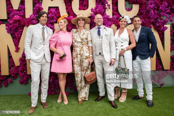 Nacho Figueras, Zara Phillips, Delfina Blaquier, Mike Tindall, Nicole Slater and Billy Slater attend the Moet Marquee Magic Millions Raceday at the...