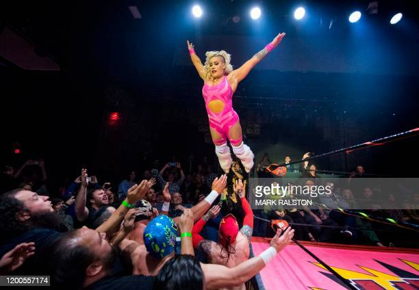 Nacho Libre wrestlers perform during the Lucha Vavoom 'Valentines Day' show at the Mayan Theatre California on February 12 2020 Lucha Vavoom combines...