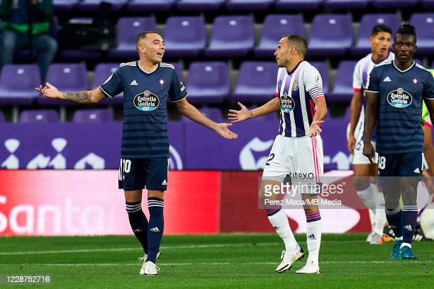 Nacho Martinez of Real Valladolid CF talks with Iago Aspas of RC Celta de Vigo during the La Liga Santander match between Real Valladolid CF and RC...