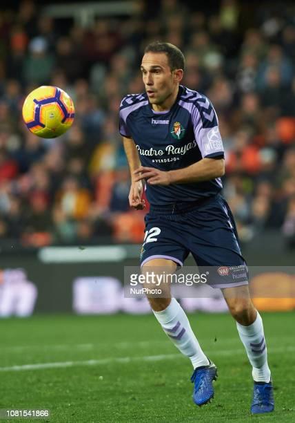 Nacho Martinez of Valladolid during the La Liga Santander match between Valencia and Valladolid at Mestalla Stadium on Jenuary 12 2019 in Valencia...