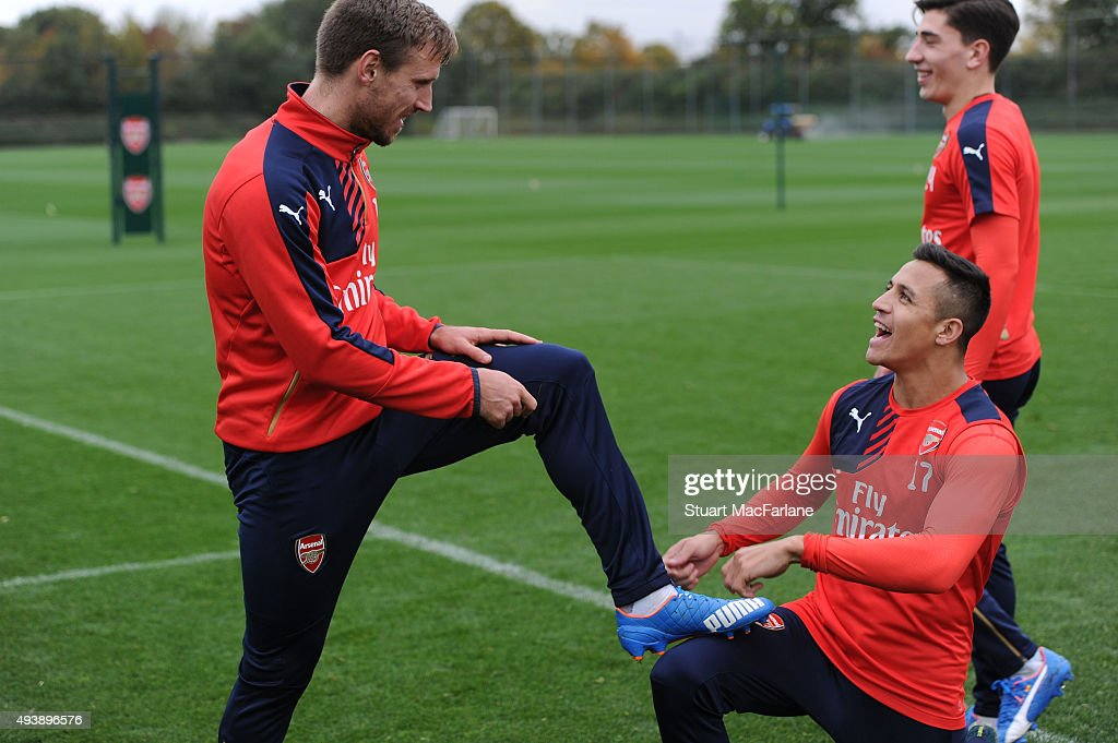 Nacho Monreal and Alexis Sanchez of Arsenal during a training session at London Colney on October 23, 2015 in St Albans, England.