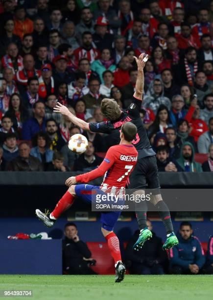 METROPOLITANO MADRID SPAIN Nacho Monreal and Antoine Griezmann competes the ball during the UEFA Europa League Semi Final Second Leg match between...