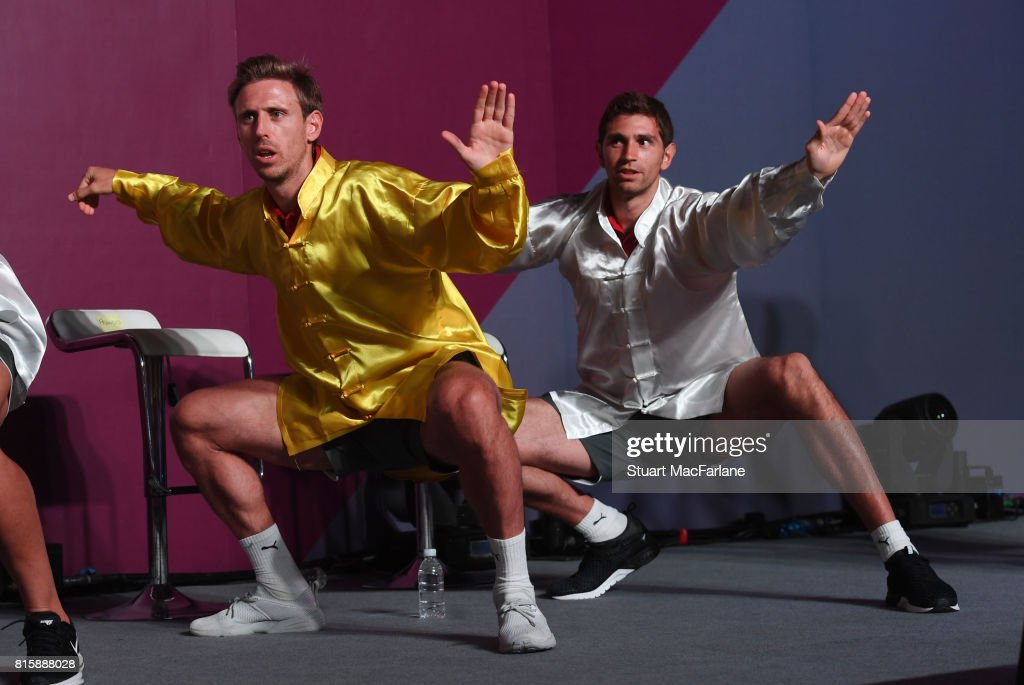 Nacho Monreal and Emiliano Martinez attend an Arsenal Fan Party at the Manderain Oriental Hotel on July 17, 2017 in Shanghai, .