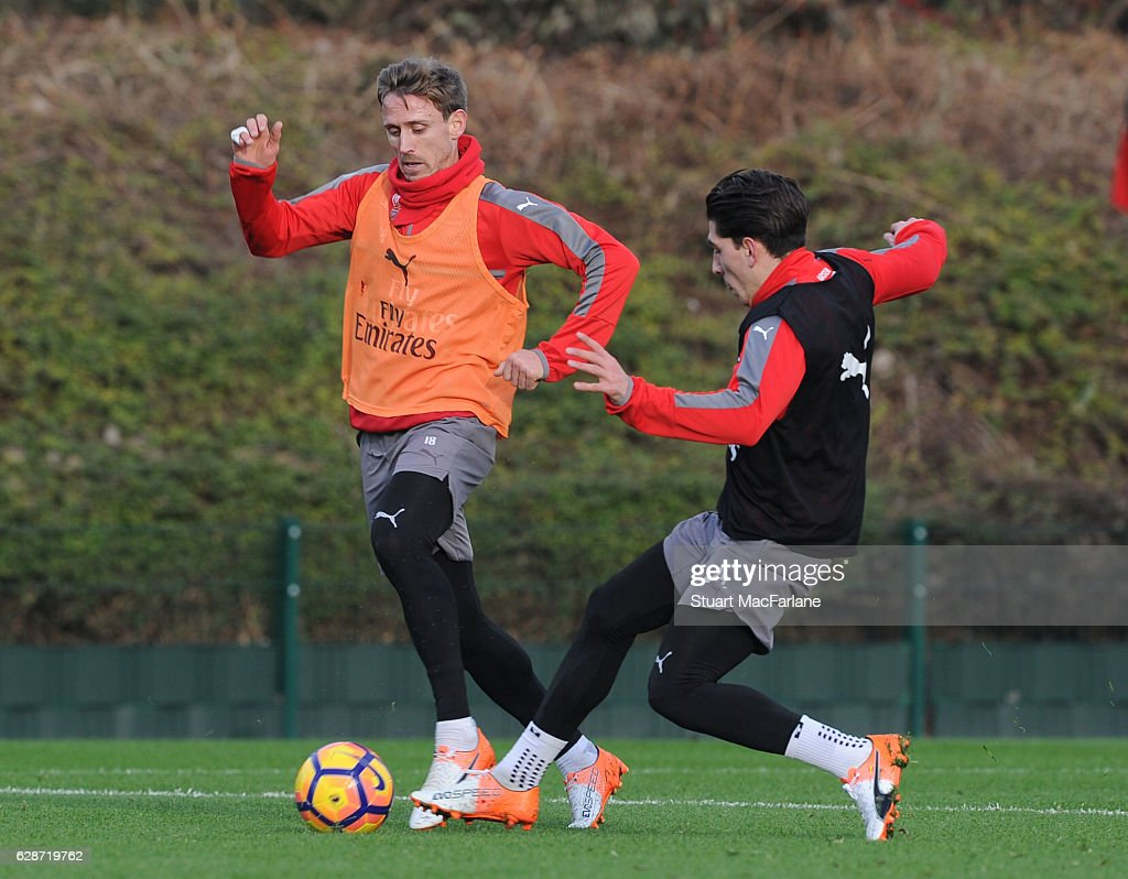 Nacho Monreal and Hector Bellerin of Arsenal during a training session at London Colney on December 9, 2016 in St Albans, England.
