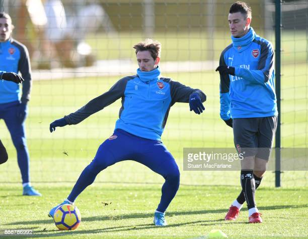 Nacho Monreal and Laurent Koscielny of Arsenal during a training session at London Colney on December 9 2017 in St Albans England