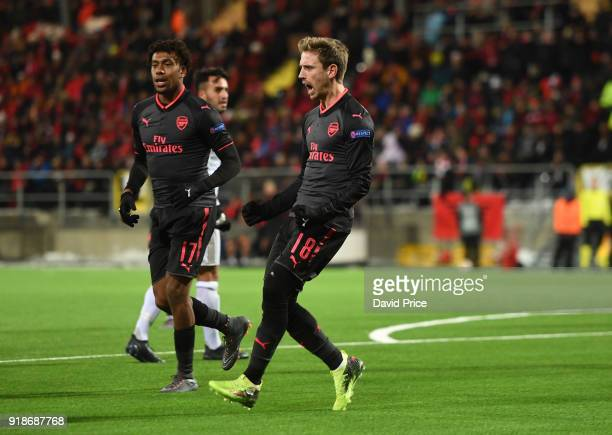 Nacho Monreal celebrates scoring Arsenal's 1st goal during UEFA Europa League Round of 32 match between Ostersunds FK and Arsenal at the Jamtkraft...