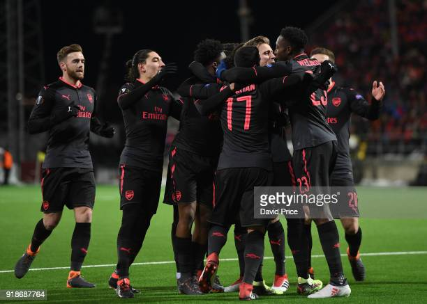 Nacho Monreal celebrates scoring Arsenal's 1st goal with his team mates during UEFA Europa League Round of 32 match between Ostersunds FK and Arsenal...