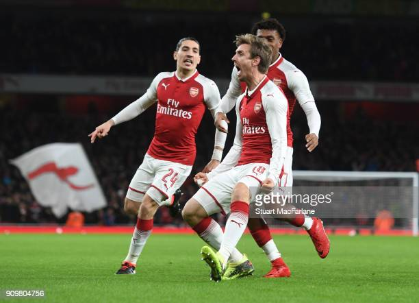 Nacho Monreal celebrates scoring for Arsenal during the Carabao Cup SemiFinal Second Leg between Arsenal and Chelsea at Emirates Stadium on January...
