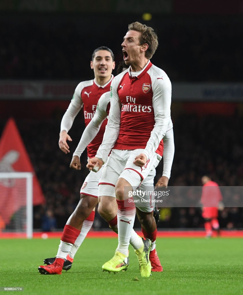 Nacho Monreal celebrates scoring for Arsenal during the Carabao Cup Semi-Final Second Leg between Arsenal and Chelsea at Emirates Stadium on January 24, 2018 in London, England.
