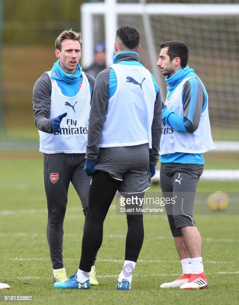 Nacho Monreal Granit Xhaka and Henrikh Mkhitaryan of Arsenal during a training session at the London Colney on February 9 2018 in St Albans United...