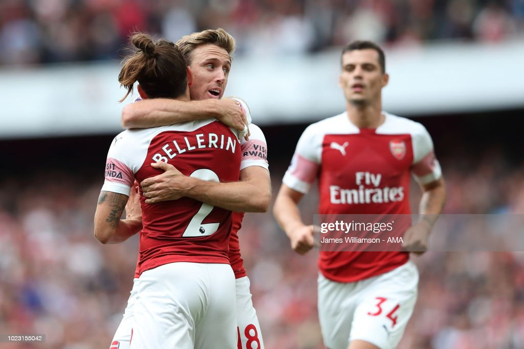 Nacho Monreal of Arsenal celebrates after scoring a goal to make it 1-1 during the Premier League match between Arsenal FC and West Ham United at Emirates Stadium on August 25, 2018 in London, United Kingdom.