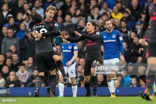 Nacho Monreal of Arsenal celebrates after scoring a goal to make it 1-1 during the Premier League match between Everton and Arsenal at Goodison Park...