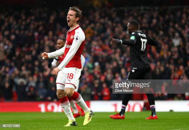 Nacho Monreal of Arsenal celebrates after scoring his sides first goal during the Premier League match between Arsenal and Crystal Palace at Emirates...
