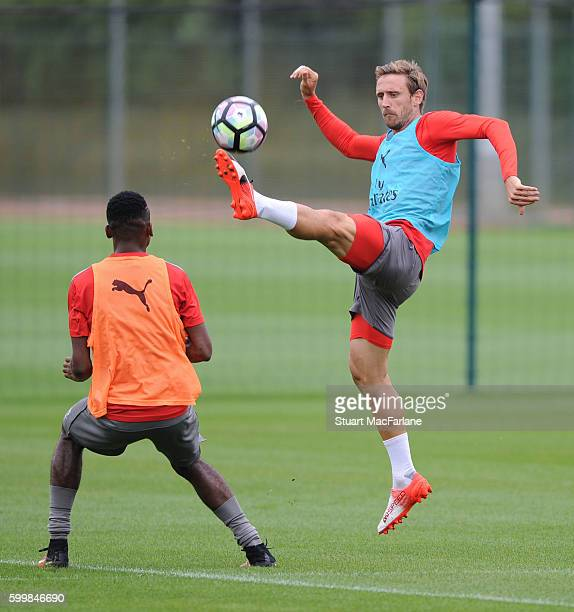 Nacho Monreal of Arsenal during a training session at London Colney on September 7 2016 in St Albans England