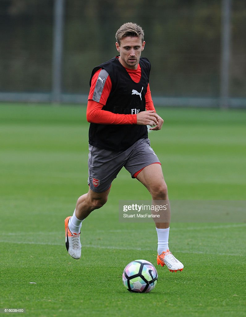 Nacho Monreal of Arsenal during a training session at London Colney on October 21, 2016 in St Albans, England.