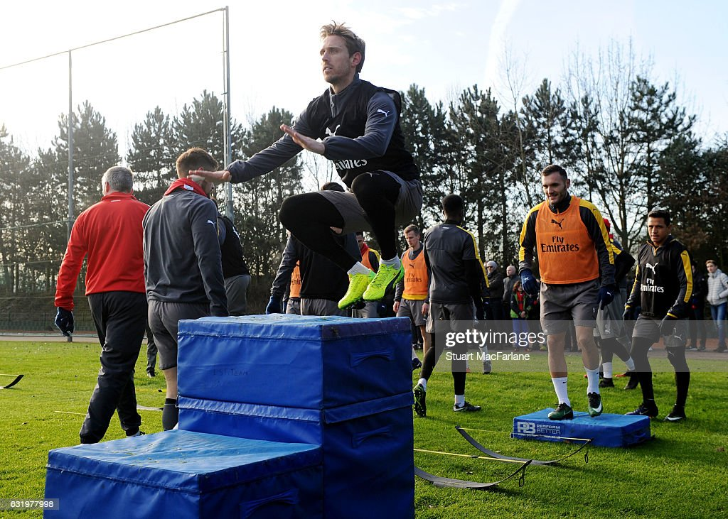 Nacho Monreal of Arsenal during a training session at London Colney on January 18, 2017 in St Albans, England.