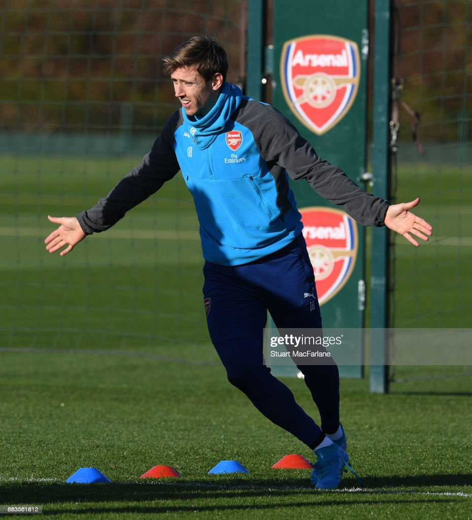 Nacho Monreal of Arsenal during a training session at London Colney on December 1, 2017 in St Albans, England.