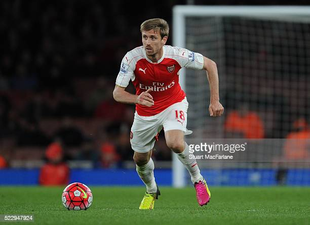 Nacho Monreal of Arsenal during the Barclays Premier League match between Arsenal and West Bromwich Albion at Emirates Stadium on April 21 2016 in...
