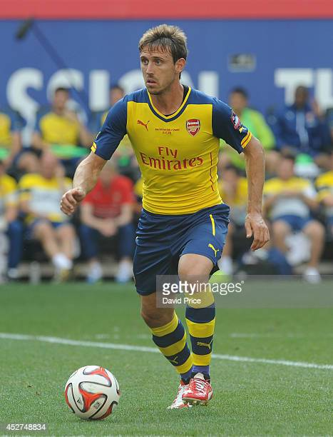 Nacho Monreal of Arsenal during the pre season match between New York Red Bulls and Arsenal at Red Bull Arena on July 26 2014 in Harrison New Jersey