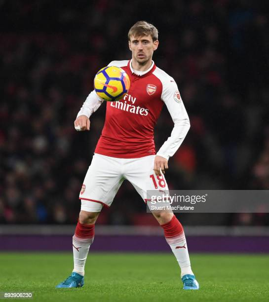 Nacho Monreal of Arsenal during the Premier League match between Arsenal and Newcastle United at Emirates Stadium on December 16 2017 in London...