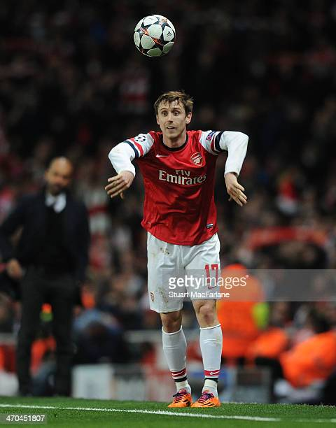 Nacho Monreal of Arsenal during the UEFA Champions League match between Arsenal and FC Bayern Muenchen at Emirates Stadium on February 19 2014 in...