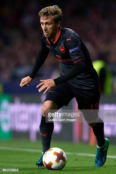 Nacho Monreal of Arsenal FC in action during the UEFA Europa League Semi Final second leg match between Atletico Madrid and Arsenal FC at Estadio...