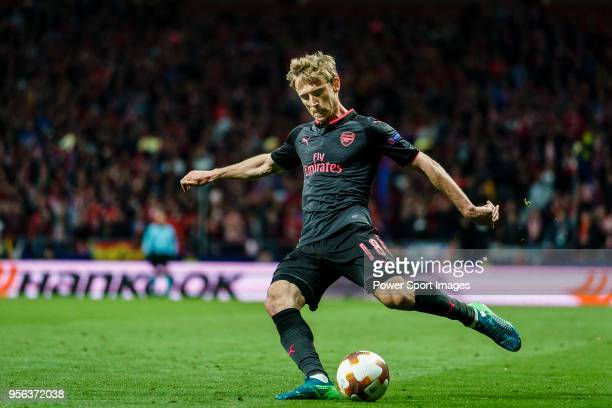 Nacho Monreal of Arsenal FC in action during the UEFA Europa League 201718 semifinals match between Atletico de Madrid and Arsenal FC at Wanda...