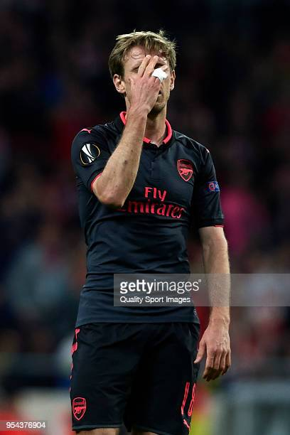 Nacho Monreal of Arsenal FC reacts during the UEFA Europa League Semi Final second leg match between Atletico Madrid and Arsenal FC at Estadio Wanda...