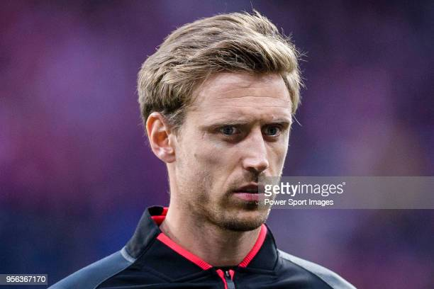 Nacho Monreal of Arsenal FC reacts prior to the UEFA Europa League 201718 semifinals match between Atletico de Madrid and Arsenal FC at Wanda...