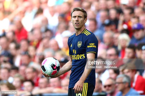 Nacho Monreal of Arsenal holds the ball during the Premier League match between Liverpool FC and Arsenal FC at Anfield on August 24, 2019 in...