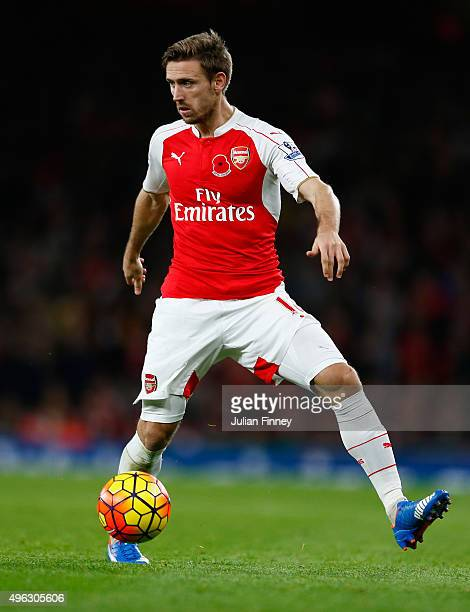 Nacho Monreal of Arsenal in action during the Barclays Premier League match between Arsenal and Tottenham Hotspur at Emirates Stadium on November 8...