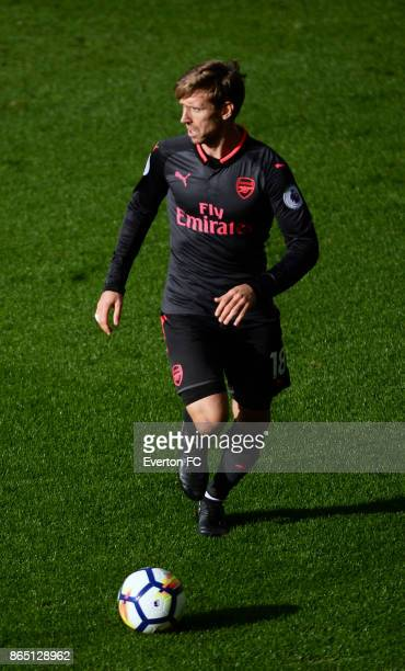 Nacho Monreal of Arsenal in action during the Premier League match between Everton and Arsenal at Goodison Park on October 22 2017 in Liverpool...