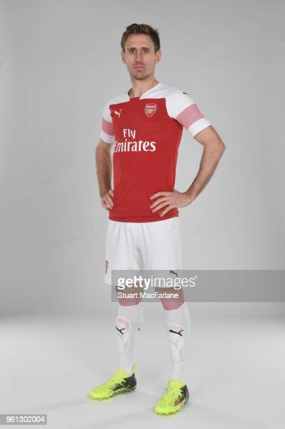 Nacho Monreal of Arsenal in the new home kit for season 201819 on March 16 2018 in St Albans England