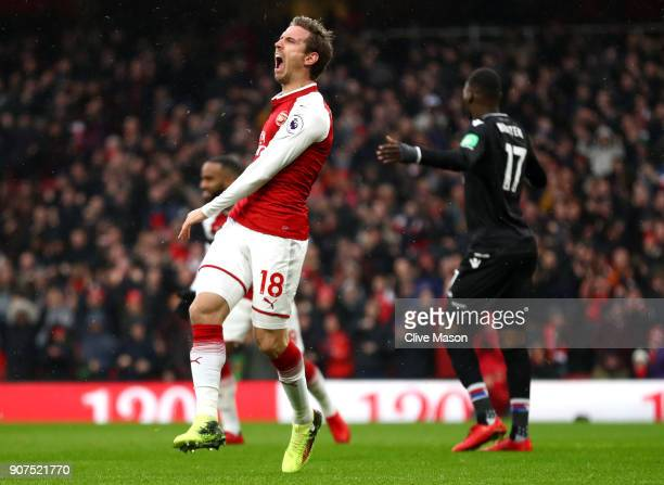 Nacho Monreal of Arsenal reacts during the Premier League match between Arsenal and Crystal Palace at Emirates Stadium on January 20 2018 in London...