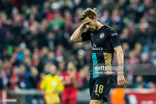 Nacho Monreal of Arsenal reacts during the UEFA Champions League match between FC Bayern Muenchen and Arsenal FC at Allianz Arena on November 4 2015...
