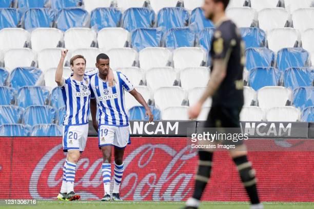 Nacho Monreal of Real Sociedad Celebrates 1-0 with Alexander Isak of Real Sociedad during the La Liga Santander match between Real Sociedad v...